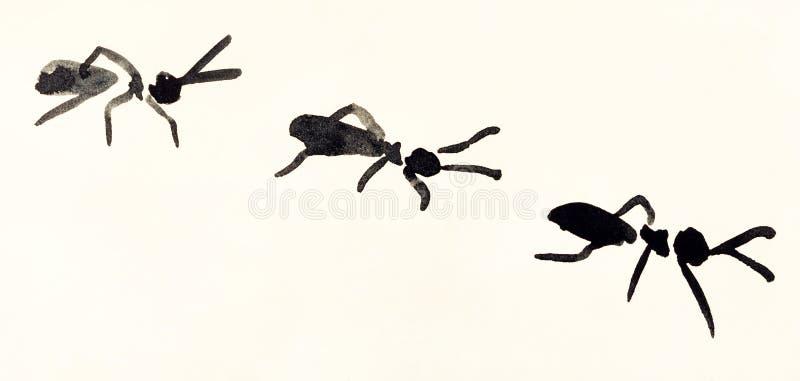蚂蚁线手画在米黄色的纸 向量例证