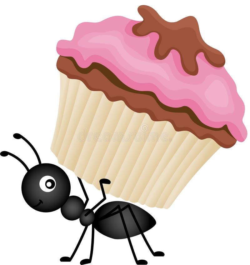 蚂蚁运载的杯形蛋糕 库存例证