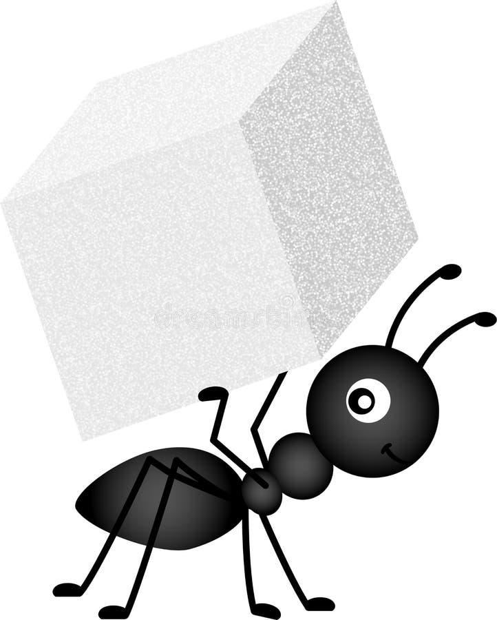 蚂蚁运载的糖立方体 库存例证