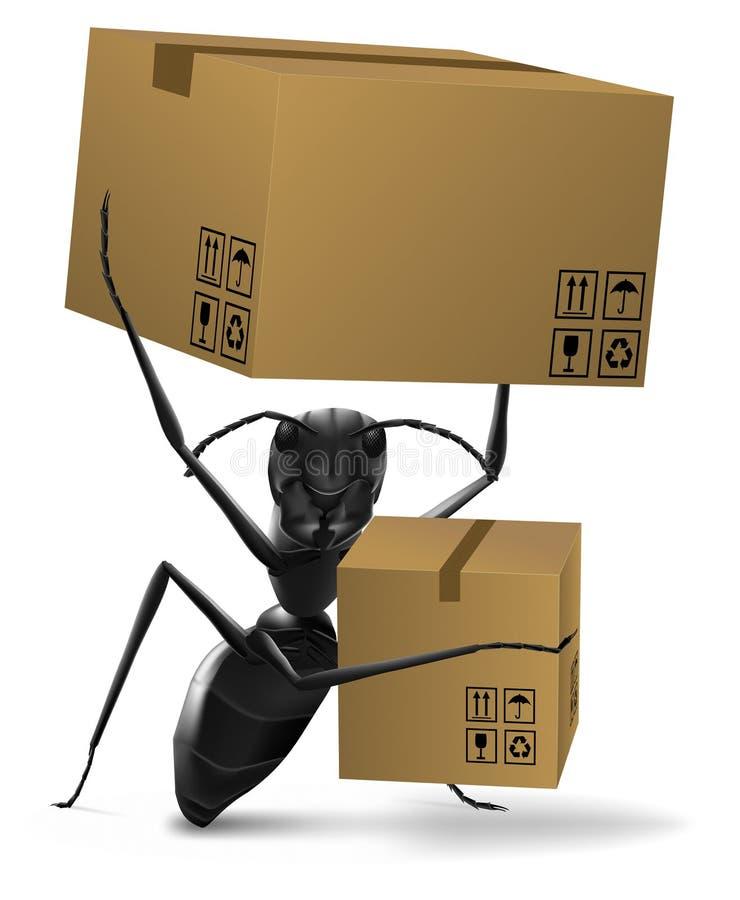 蚂蚁配件箱纸板提供发运 皇族释放例证