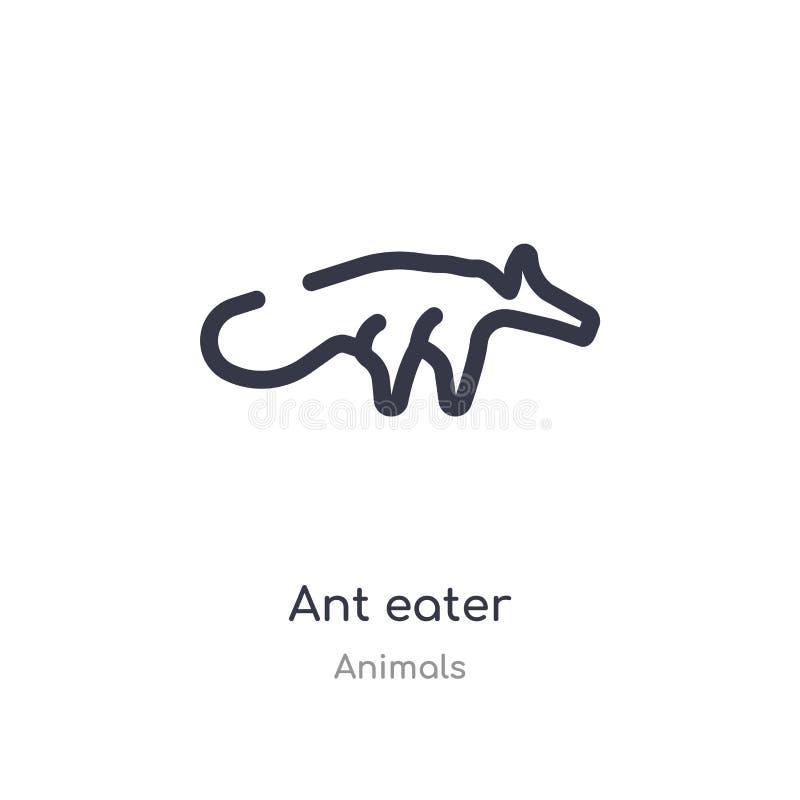 蚂蚁食者概述象 r 在白色的编辑可能的稀薄的冲程蚂蚁食者象 库存例证