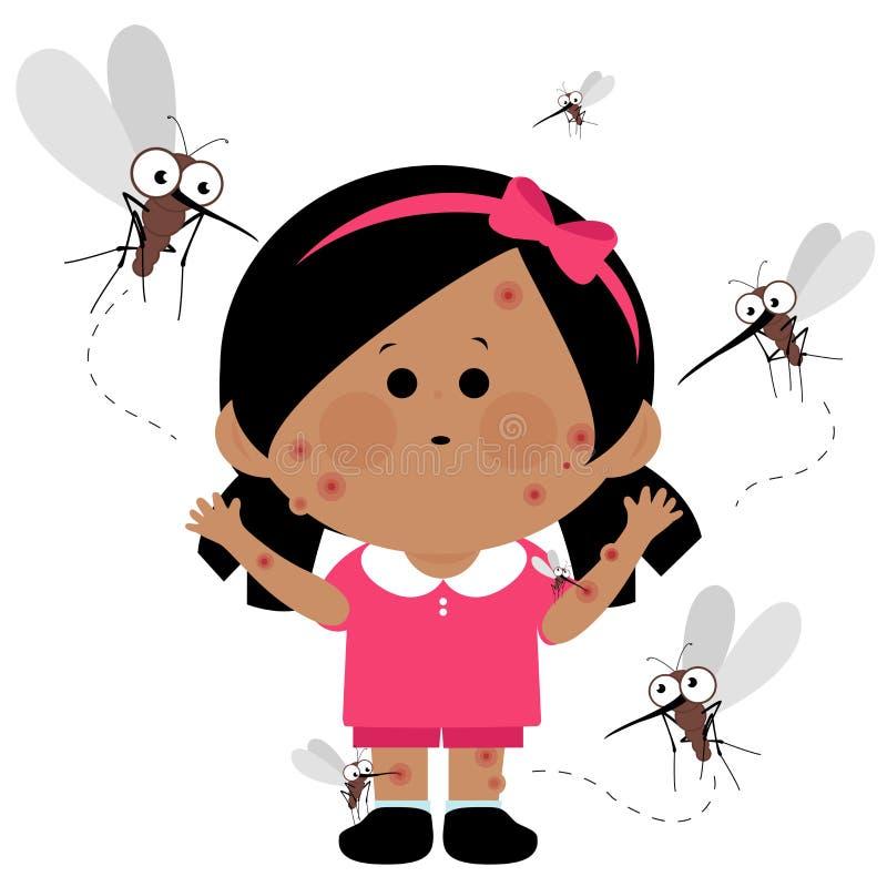蚊子咬住的女孩 库存例证