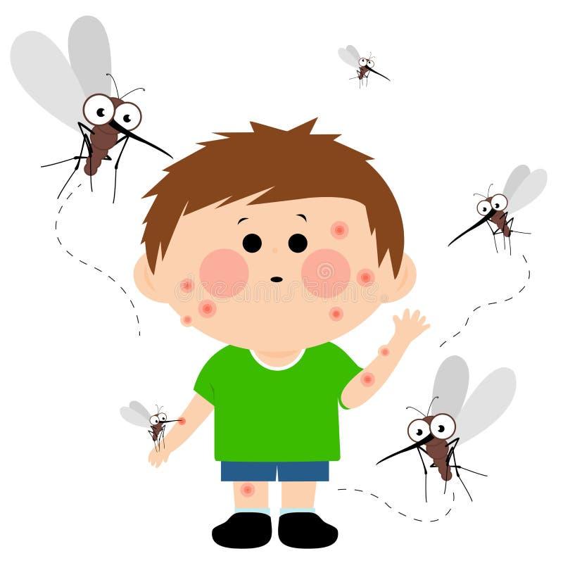 蚊子咬住的男孩 库存例证