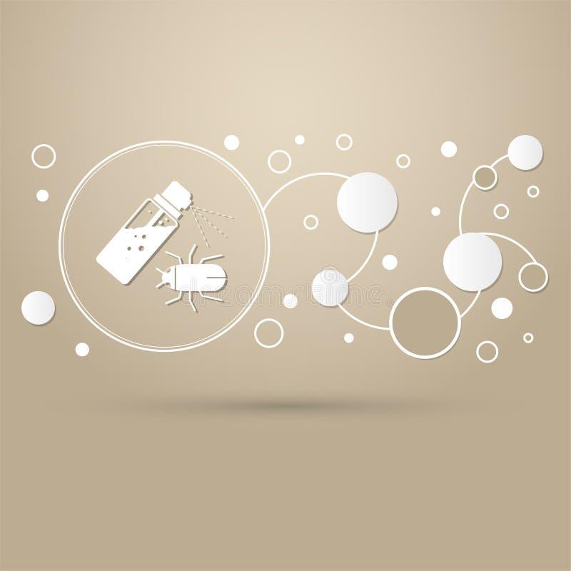 蚊子浪花、臭虫象在棕色背景与典雅式样和infographic的现代设计 库存例证