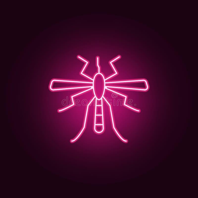 蚊子象 害虫控制和昆虫的元素在霓虹样式象 网站的简单的象,网络设计,流动应用程序,信息 向量例证