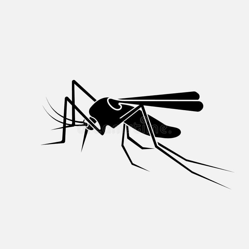 蚊子黑剪影 库存例证