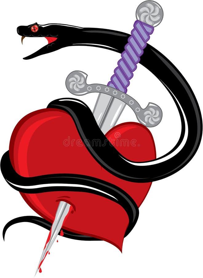 蛇刀子心脏 向量例证