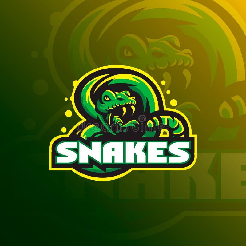 蛇吉祥人商标与一个现代颜色概念和徽章象征样式的设计传染媒介体育队的 蛇例证T恤杉prin 向量例证