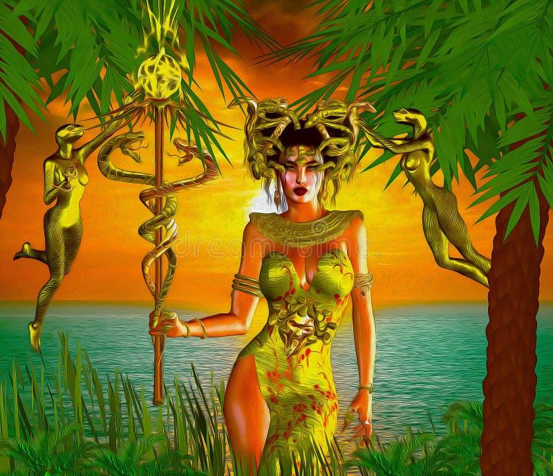 蛇女神 不可思议,幻想蛇女神在海和日落前面站立 库存例证