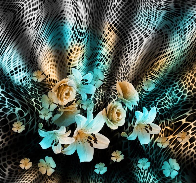 蛇皮和花背景 皇族释放例证