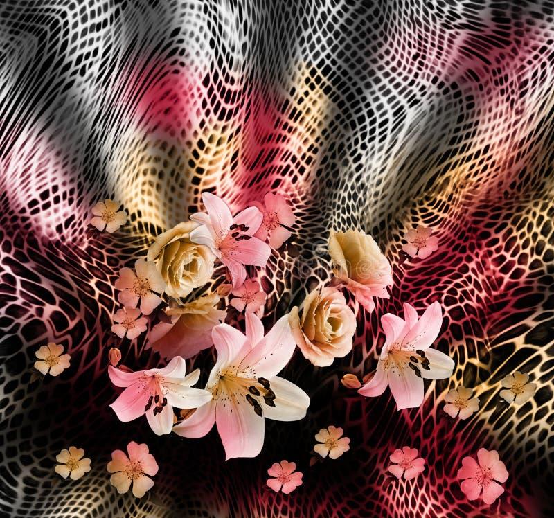 蛇皮和花背景 库存例证