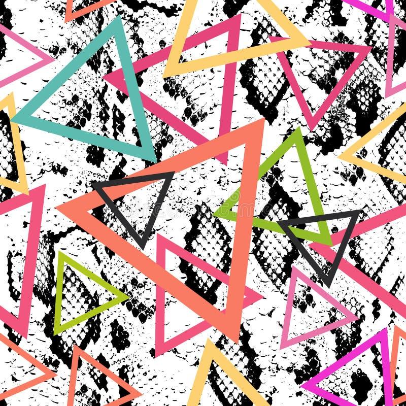 蛇皮纹理无缝的样式 黑洋红色橙色桃红色紫色方案, Geo种族现代时髦几何摘要后面 向量例证