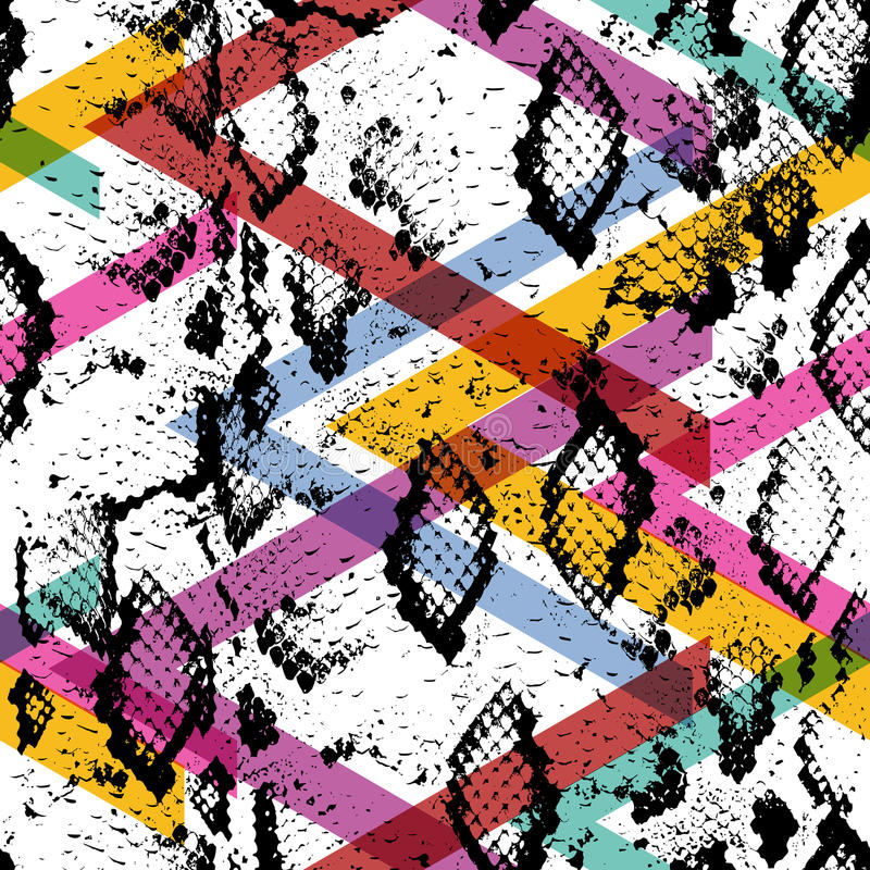 蛇皮纹理无缝的样式 黑洋红色橙色桃红色紫色淡紫色绿色条纹, Geo种族现代时髦几何abst 向量例证