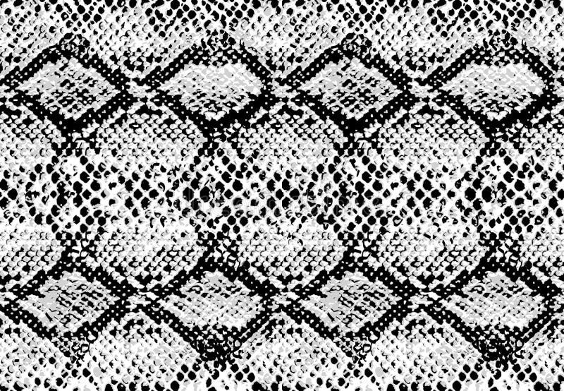 蛇皮重复无缝单色黑的样式纹理&白色 向量 库存例证