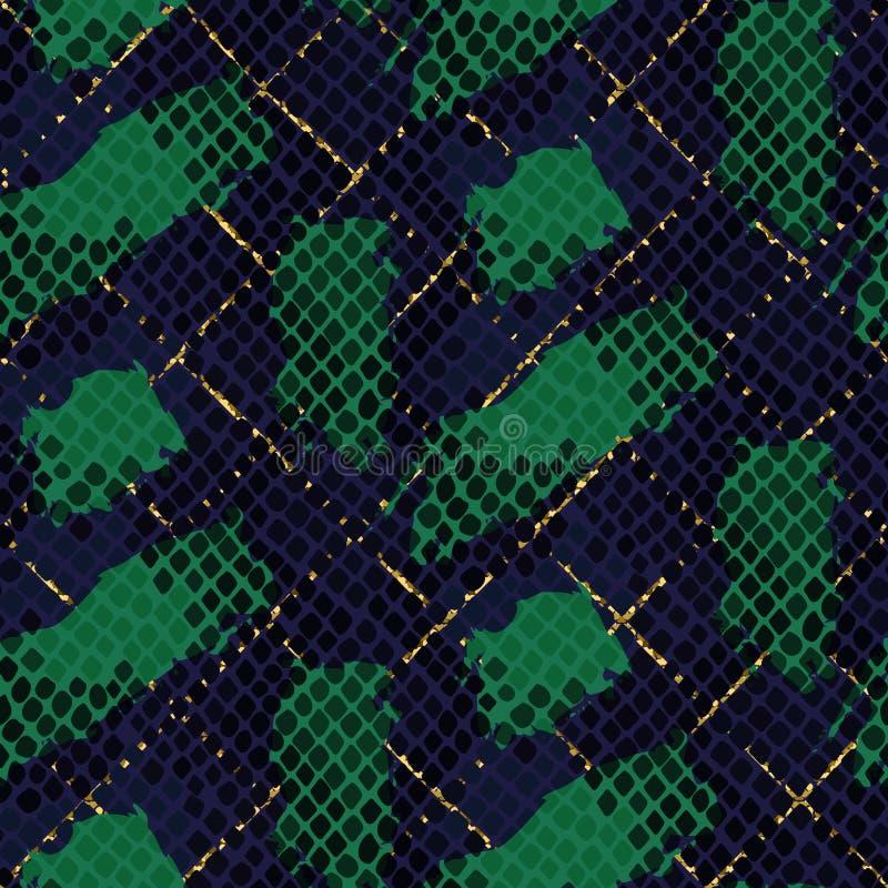 蛇皮绿色人为无缝的传染媒介纹理 皇族释放例证