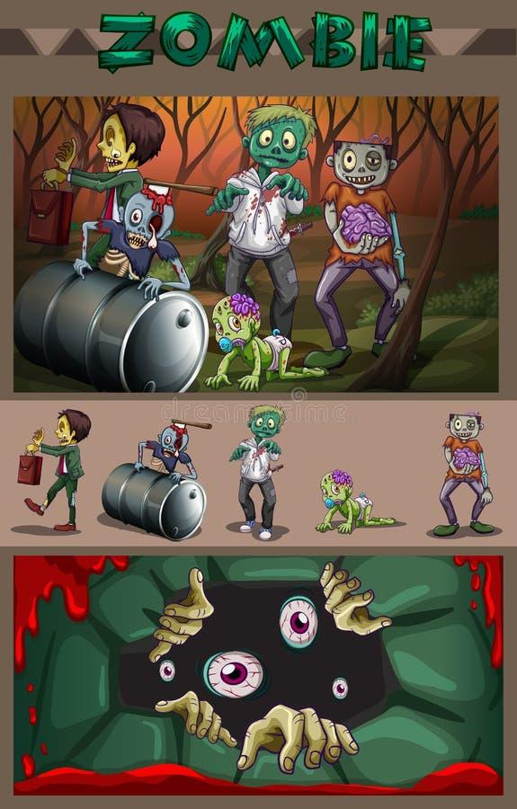 蛇神在森林里 向量例证