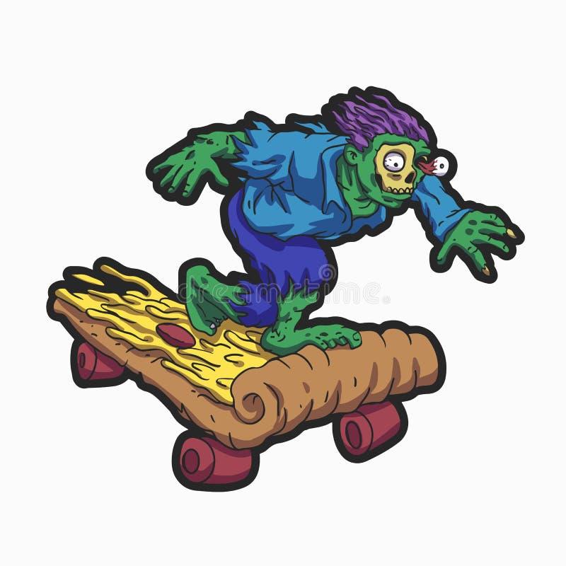 蛇神溜冰板运动以比萨格式 免版税库存照片