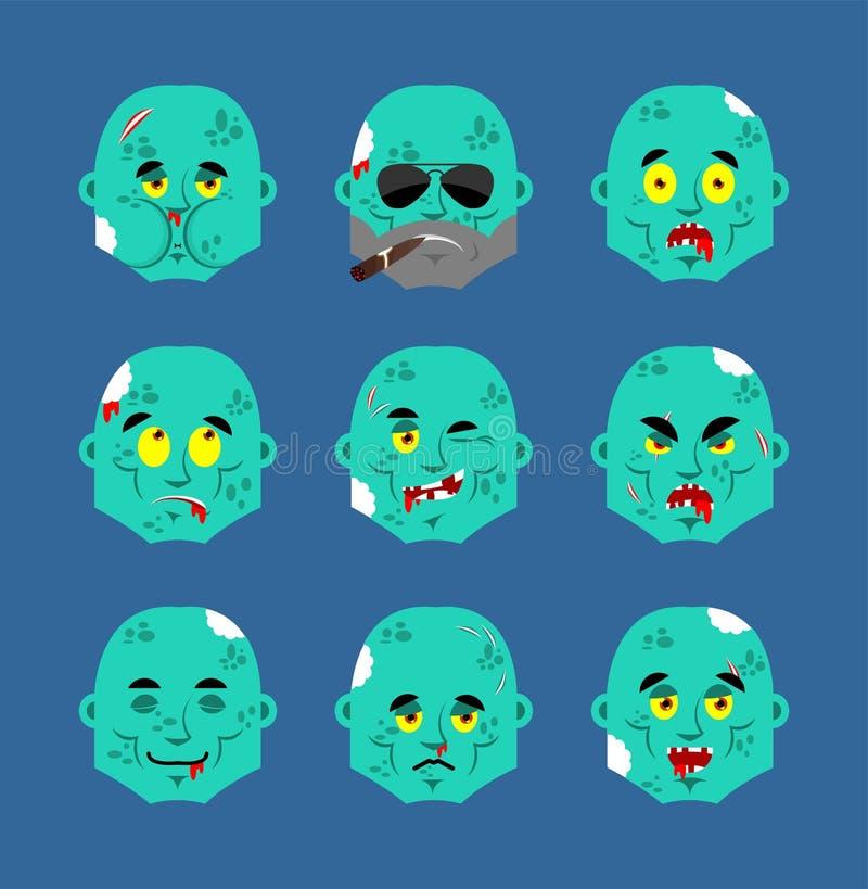 蛇神集合emoji具体化 哀伤和恼怒的面孔 有罪和睡觉 居住的死的睡觉情感面孔 不死导航例证 库存例证