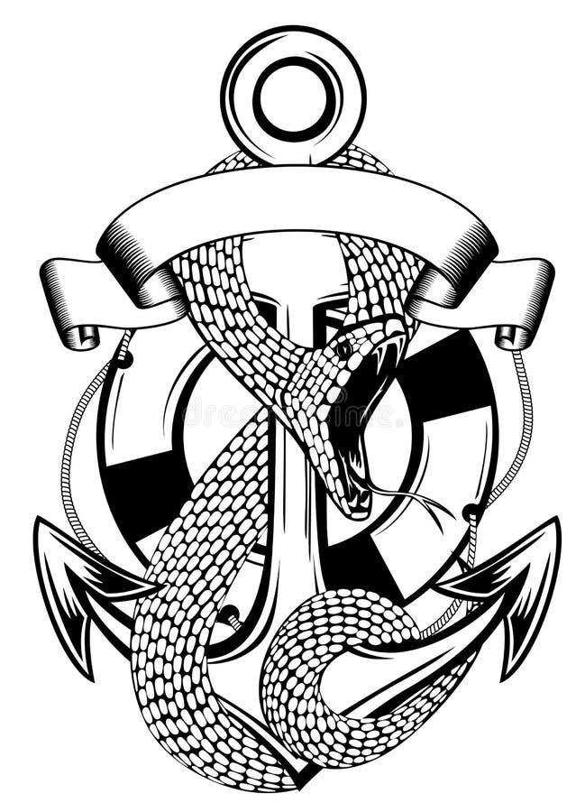 蛇锚点和环形浮体 向量例证