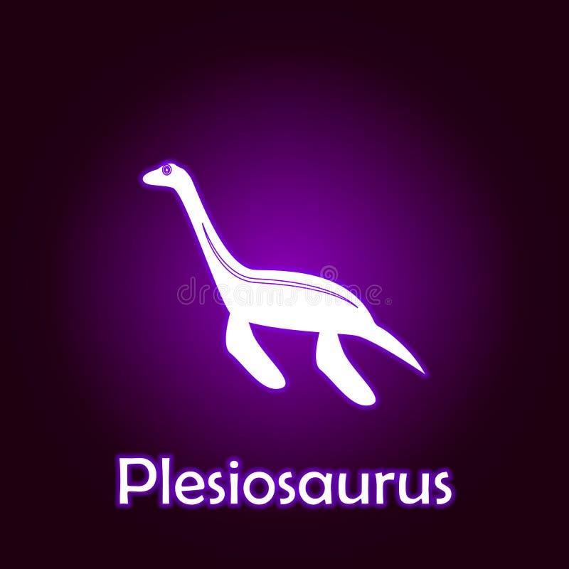 蛇颈龙概述传染媒介 恐龙例证的元素在霓虹样式象的 E 向量例证
