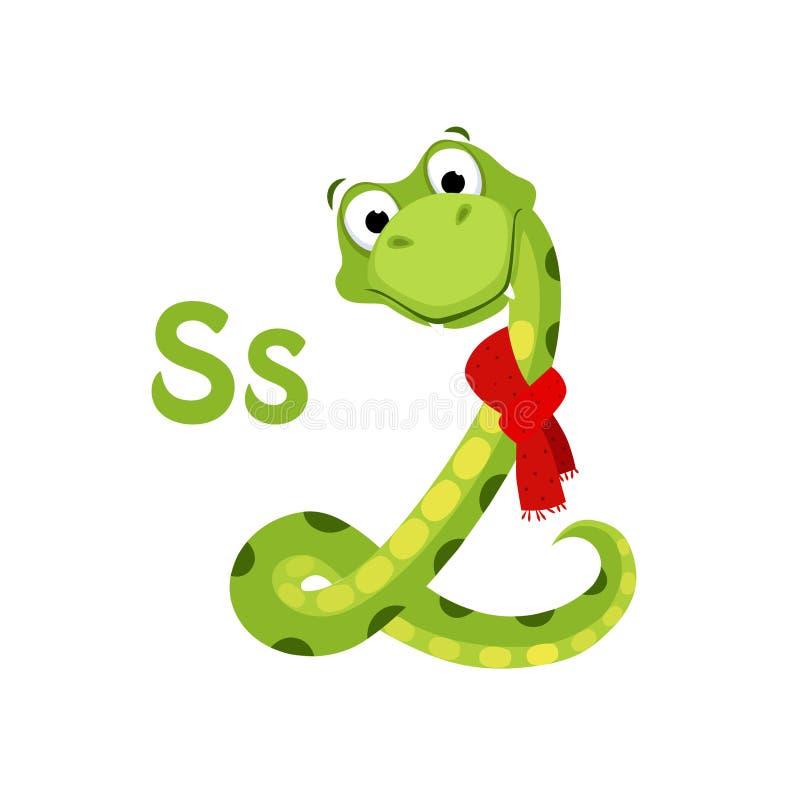 蛇 滑稽的字母表,动物传染媒介例证 向量例证