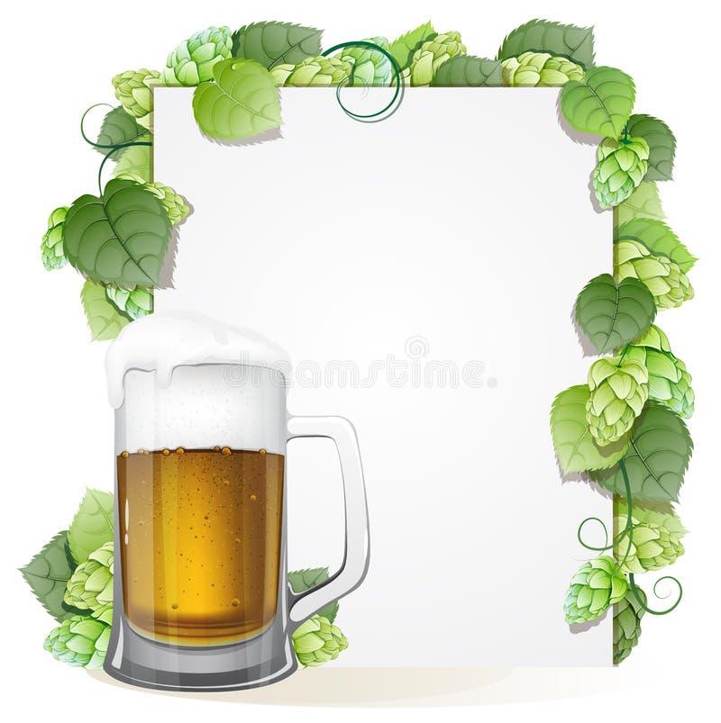 蛇麻草分支和啤酒杯 向量例证