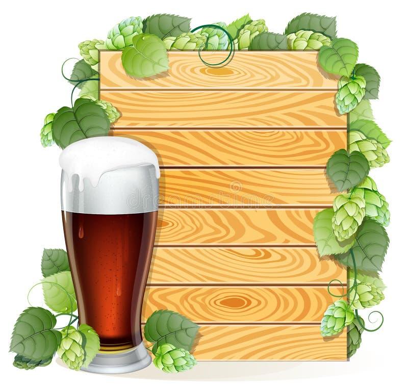 蛇麻草分支和在木背景的啤酒杯 向量例证
