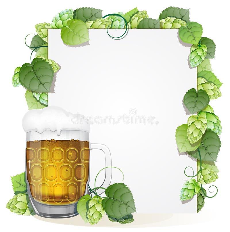蛇麻草和啤酒杯 库存例证