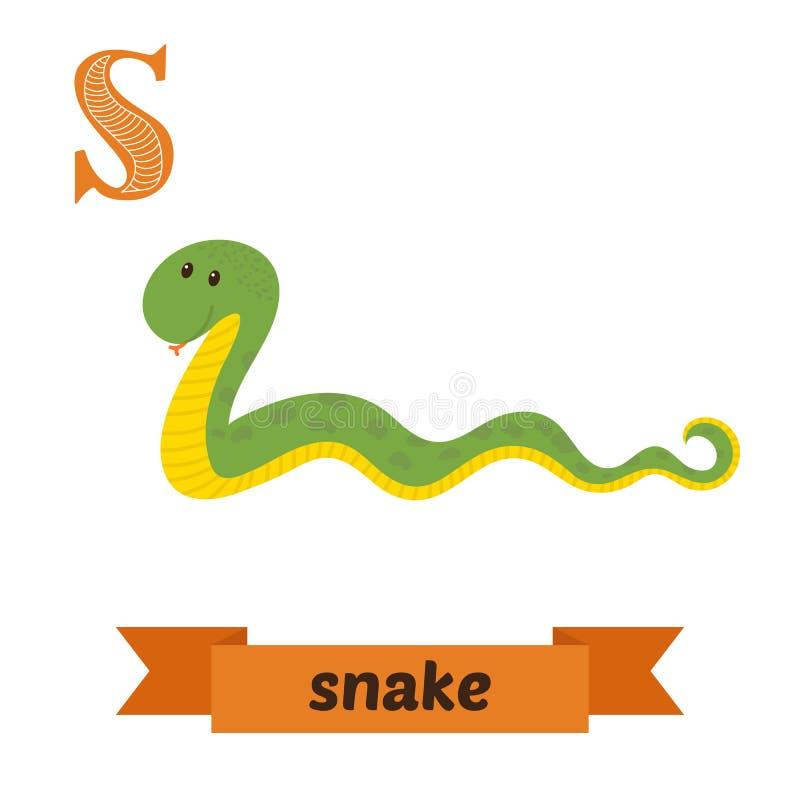 蛇 S信件 逗人喜爱的在传染媒介的儿童动物字母表 滑稽 皇族释放例证