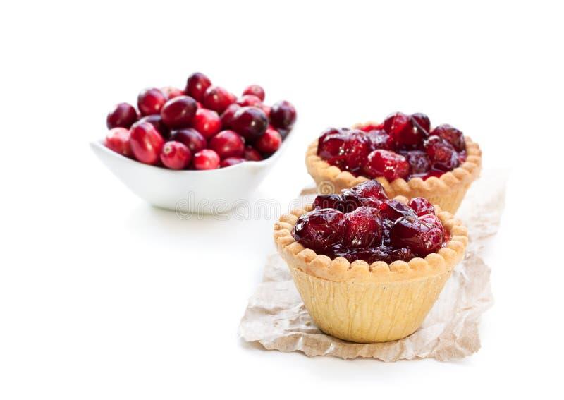 蛋乳蛋糕馅饼用在白色隔绝的蔓越桔果酱 免版税库存图片