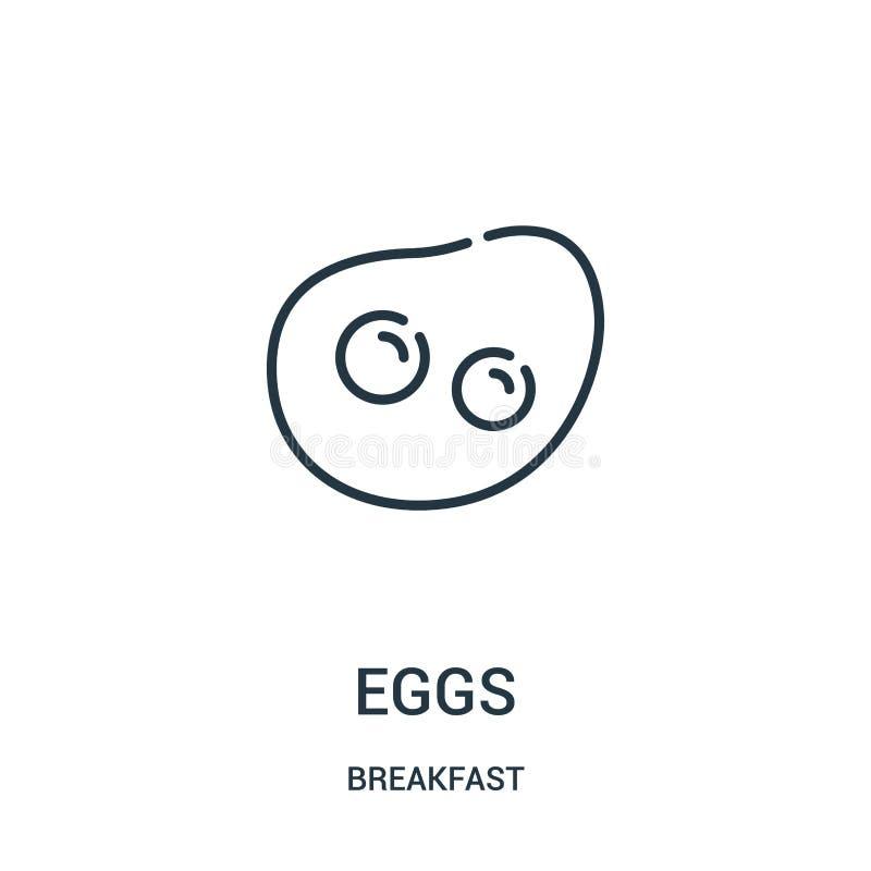 蛋从早餐汇集的象传染媒介 稀薄的线蛋概述象传染媒介例证 线性标志为在网的使用和 库存例证