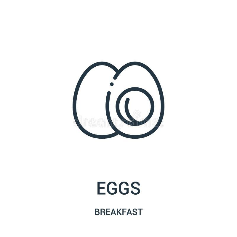蛋从早餐汇集的象传染媒介 稀薄的线蛋概述象传染媒介例证 向量例证