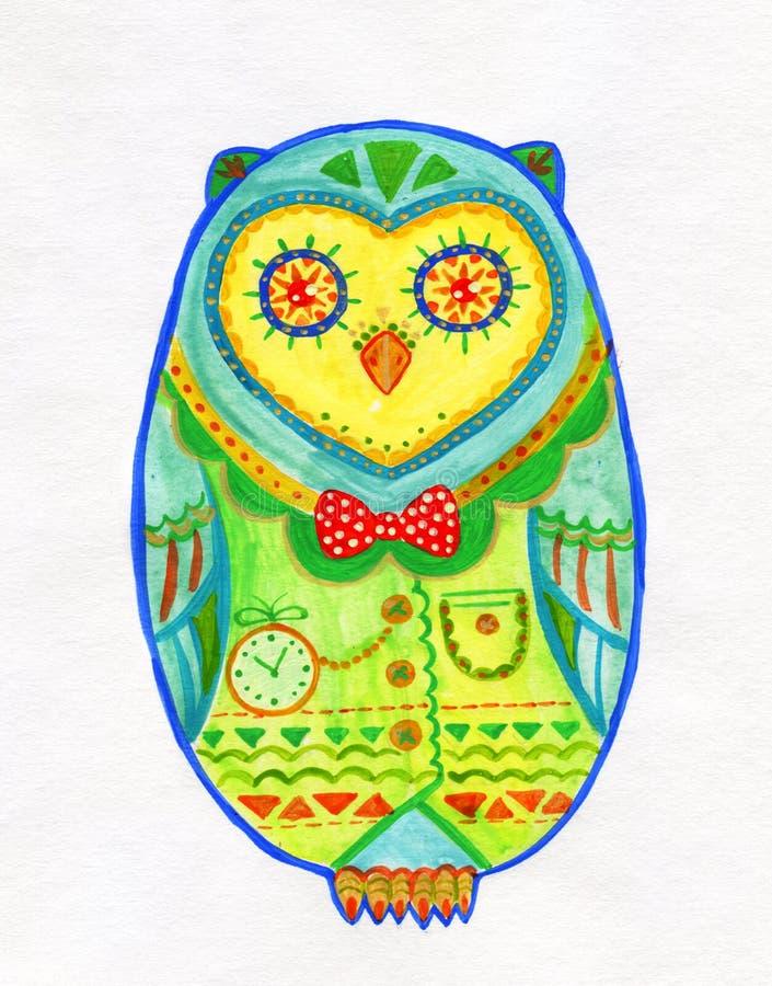 蛋形猫头鹰水彩图画  皇族释放例证