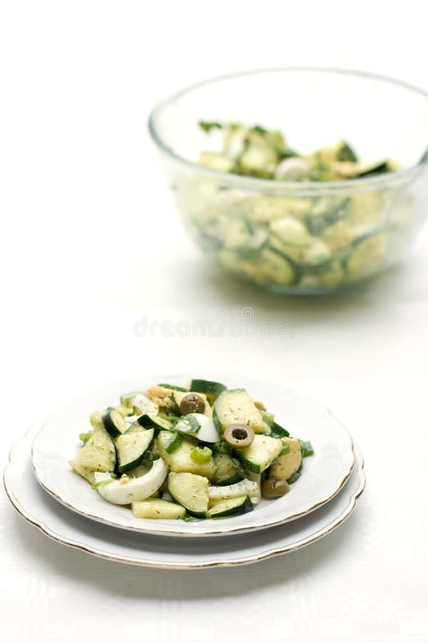 蛋橄榄沙拉夏南瓜 免版税图库摄影