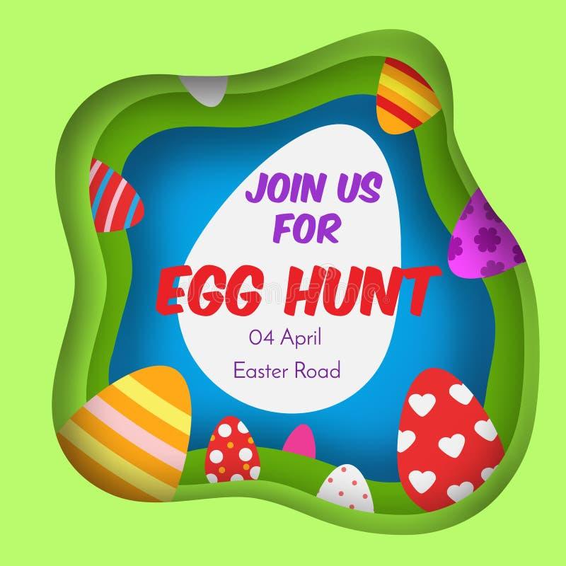 蛋狩猎 横幅五颜六色的复活节 在纸裁减,纸工艺样式的背景 孩子和孩子的邀请 春天季节性g 向量例证
