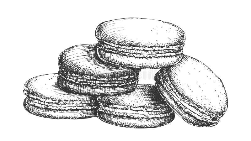 蛋白杏仁饼干饼干美好的点心葡萄酒传染媒介 皇族释放例证