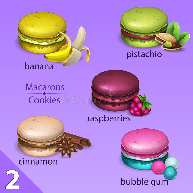 蛋白杏仁饼干设置与口味2 向量例证