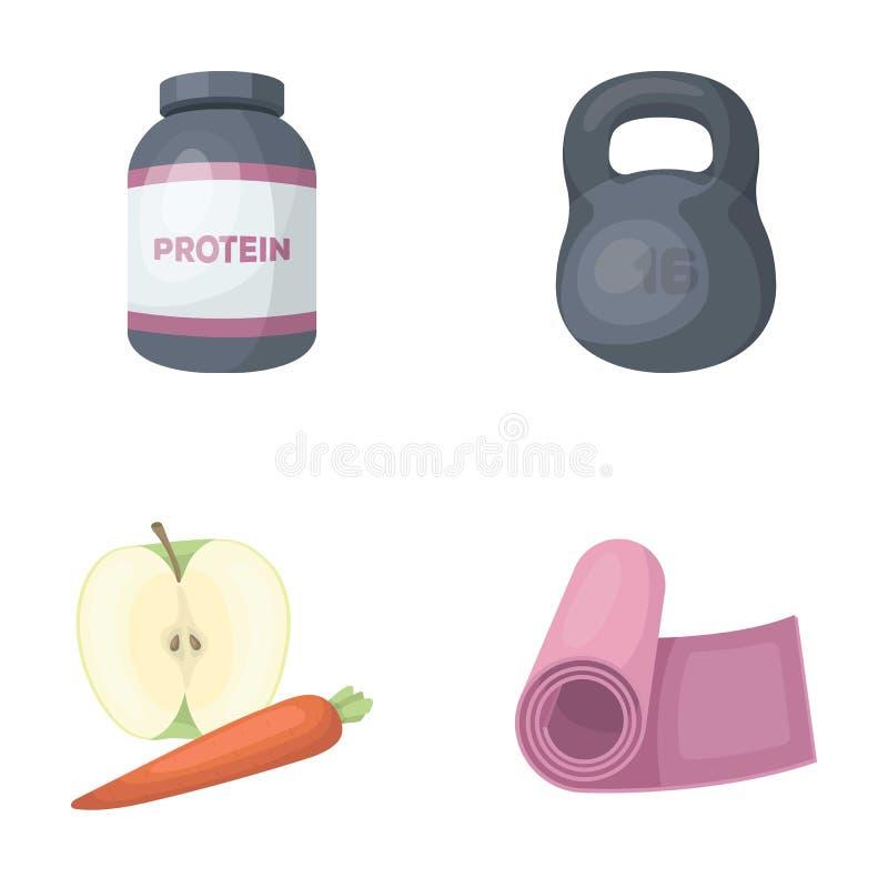 蛋白质、维生素和其他设备训练的 健身房和锻炼集合汇集象在动画片样式导航标志 向量例证