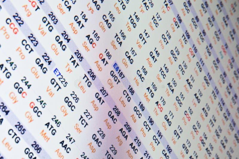 蛋白质序列的代码 库存照片