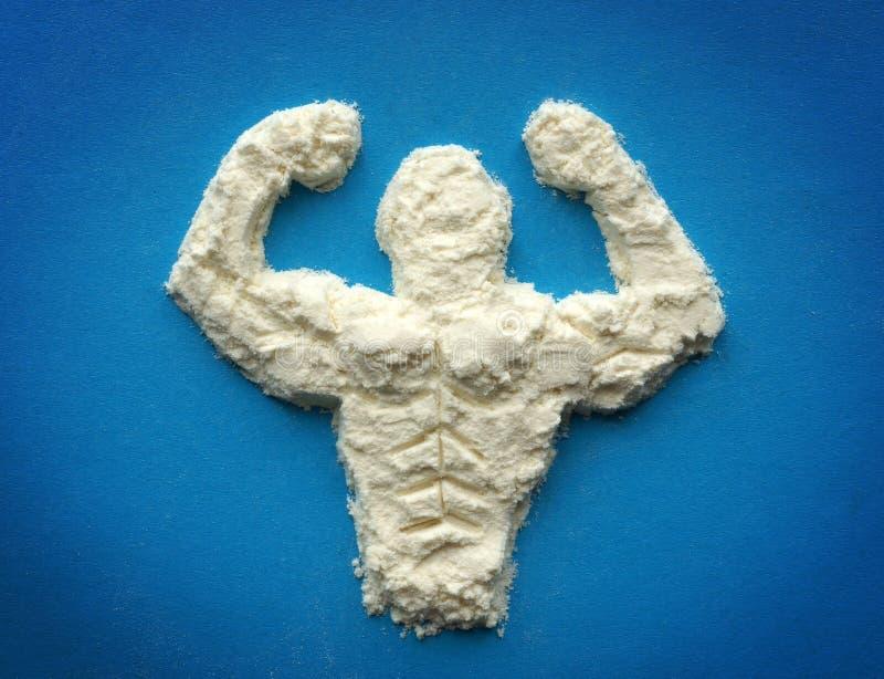 蛋白质 爱好健美者的补充 库存照片