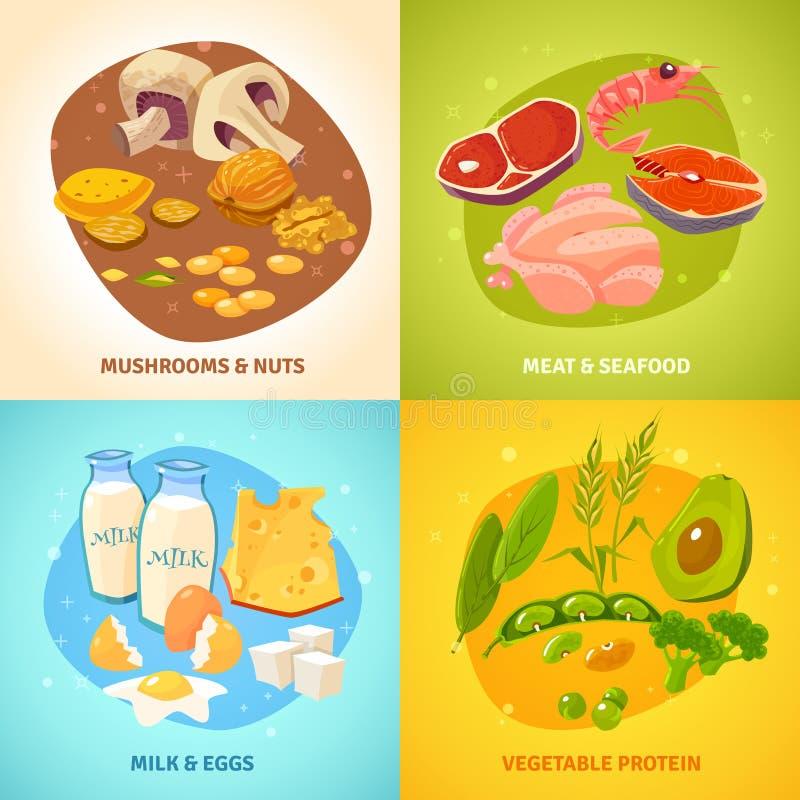 蛋白质食物概念4象正方形 向量例证