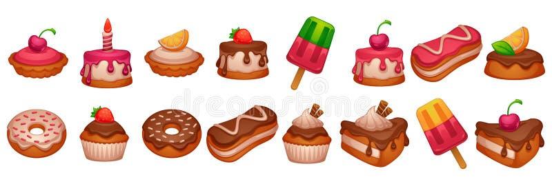 蛋糕、油炸圈饼和点心,发光和光滑的动画片反对  向量例证