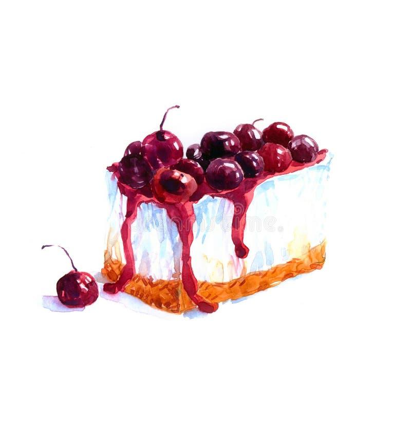 蛋糕三角点心蛋糕水彩 向量例证