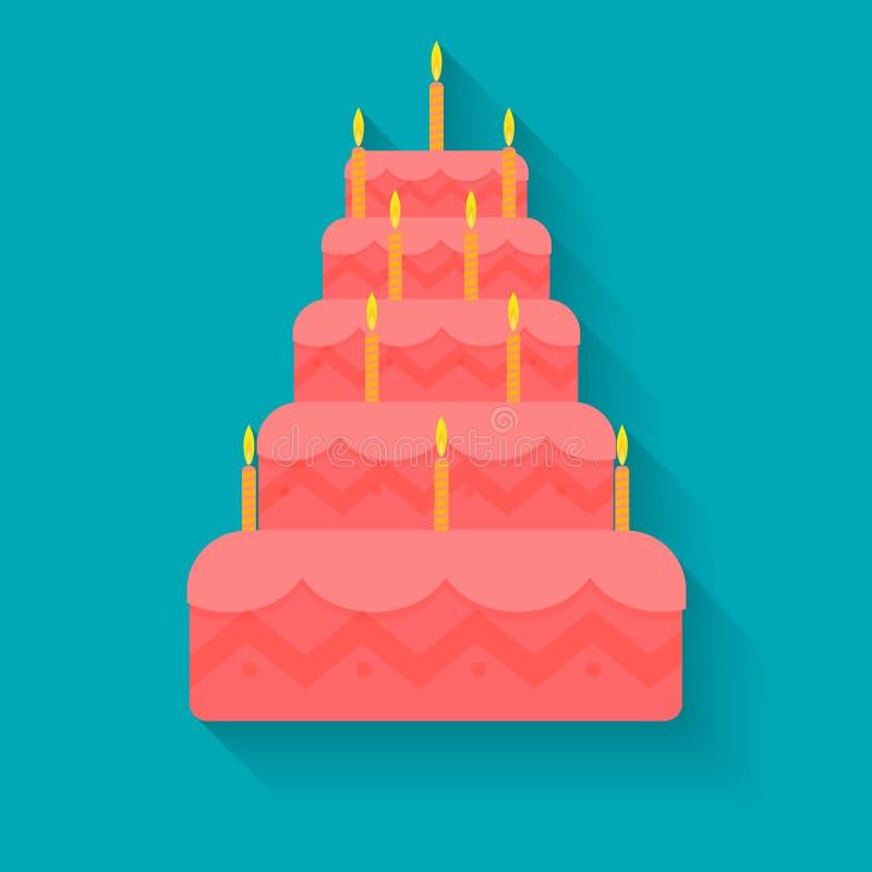 蛋糕为在平的样式的生日 免版税库存照片