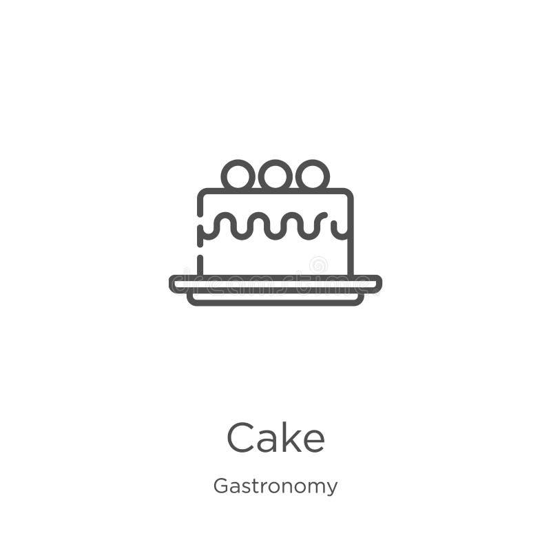 蛋糕从美食术汇集的象传染媒介 稀薄的线蛋糕概述象传染媒介例证 概述,稀薄的线蛋糕象为 库存例证
