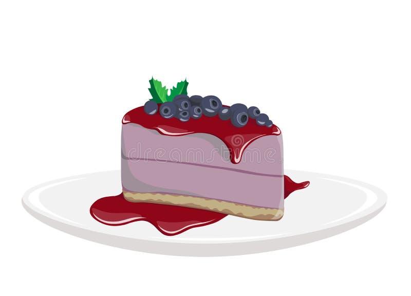 蛋糕传染媒介例证 蓝莓可口点心 紫色蛋糕 图解图画 皇族释放例证