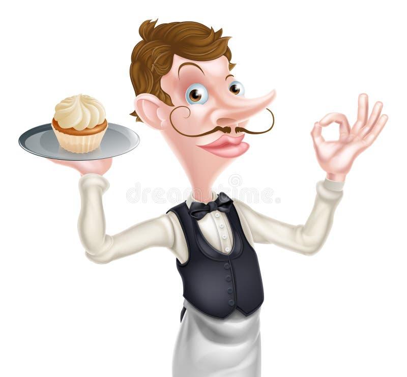 蛋糕侍者完善的标志 向量例证