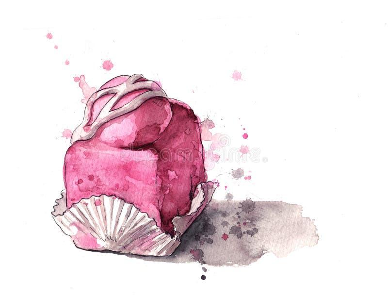 蛋糕冰了粉红色 皇族释放例证