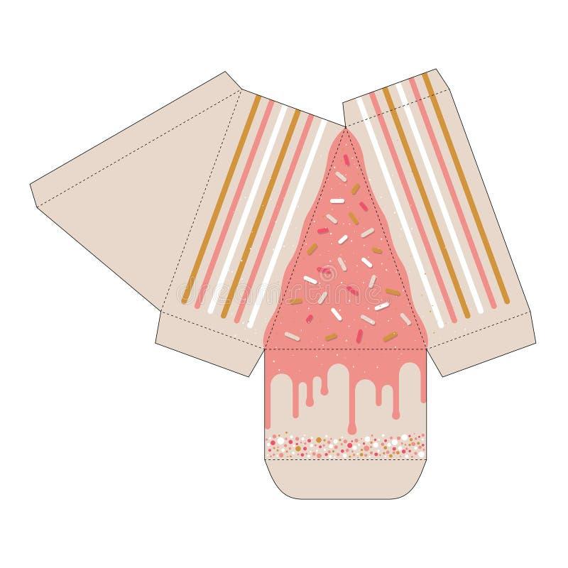 蛋糕切片箱子保险开关模板 厚待箱子 库存例证