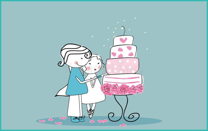 蛋糕剪切婚礼 库存例证